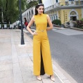 XXXL Women Fashion Brand Jumpsuits Rompers 2017 Spring Summer Ladies Stand Collar Solid Color Sleeveless Wide Leg Pant Bodysuits