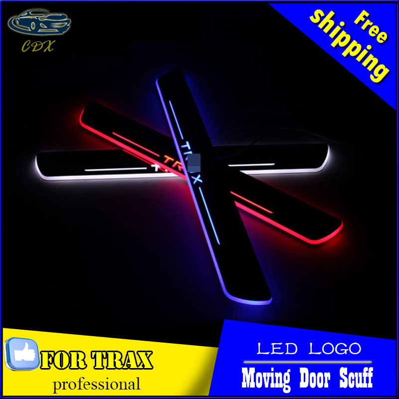 Car Styling Welcome pedal Door Sills Moving Scuff Plate Light Panel LED Light Dynamic Rubbing Strip For Chevrolet Trax 2014 2015