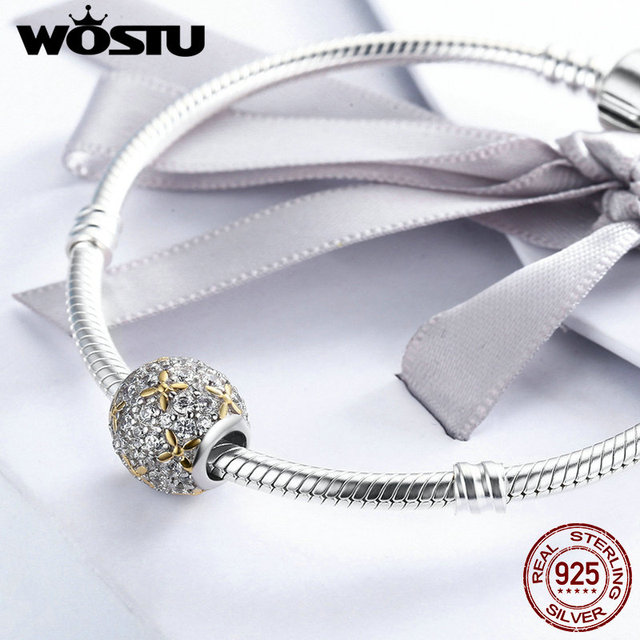 WOSTU Lusso 925 Sterling Silver Dazzling Full-Bloom Perline Fit Originale WST Braccialetto di Fascino Dei Monili di DIY Regalo CQC154