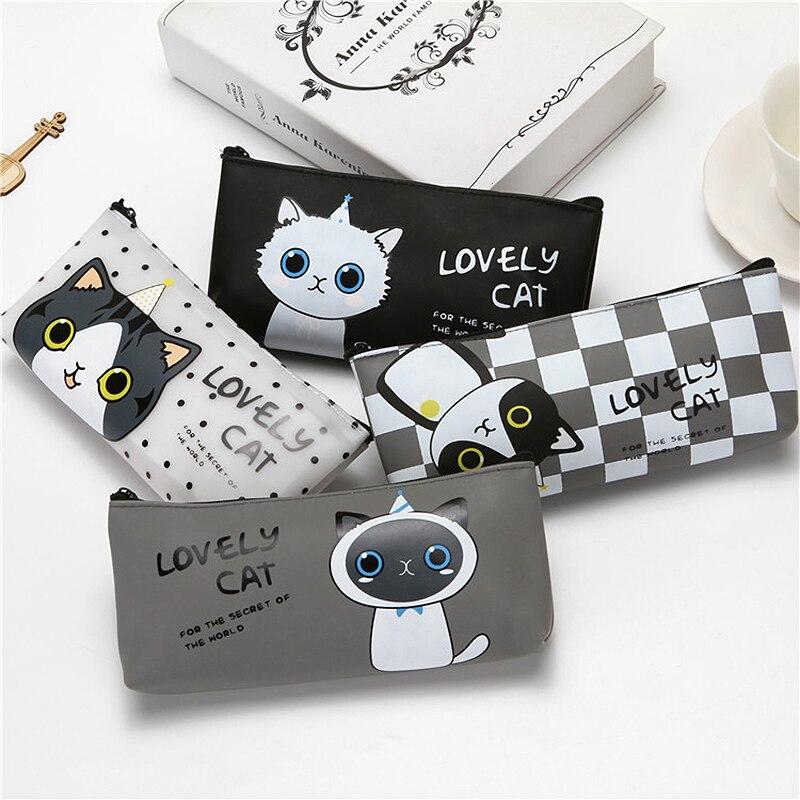 Kawaii Silicone Kitty Cat Pencil Case Girl Bag Cute Black Big Pen Box Korean Kawai School Stationery Pusheen Pencilcase 2B814
