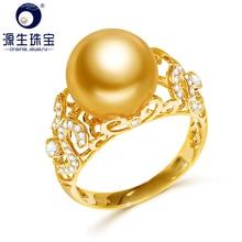 YS 2.68 gram 14 k Solid Gold Anniversary Ring 10 11mm Echte Zoutwater South Sea Parel Ring Fijne sieraden