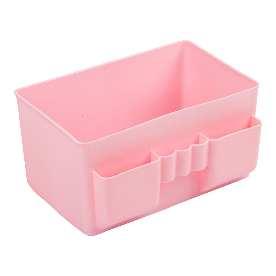 Best Hot Sale Cute Plastic Office Desktop Storage Boxes Makeup Organizer Storage Box #69829(pink)