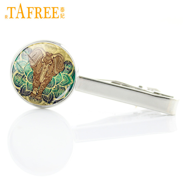 Tafree Vintage Color Elephant Glass Photo Tie Clips Indian National Style Animal Charms Clasp Pin Bar Jewelry