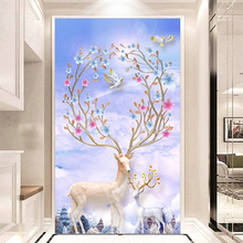 Youran Diamond Mosaic Kit 5D Diy Painting Cross Stitch Fresh Scenery Deer Animal Living Room Bedroom Wall Decroration