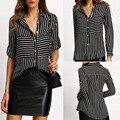 2017 Европа весной и летом Женская Черная Полоса рубашки поло кнопку цветной Полосой рубашки Высокого качества нагрудные шифон блузка