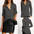 2017 Europe spring and summer Womens Black Stripe Polo shirt button color Stripe shirt High quality lapel chiffon blouse