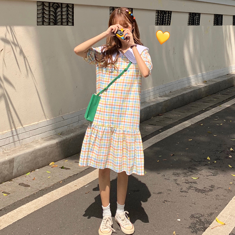 Preppy Style Loose Plaid Dress Turn down Collar Knee Length Korean Fashion Dresses Women 39 s Leisure Clothing New Arrival 1141Q in Dresses from Women 39 s Clothing