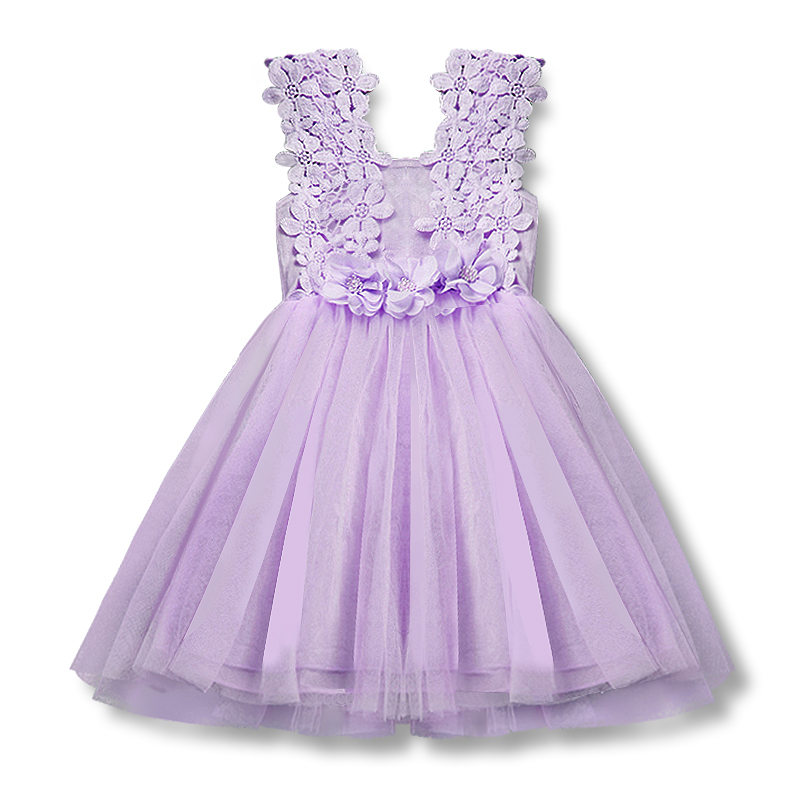 Infant Floral Lace Princess Toddle Dress Clothes Sleeveless with Flowers Summer Baby Girls Clothing Tulle Party Children Clothes