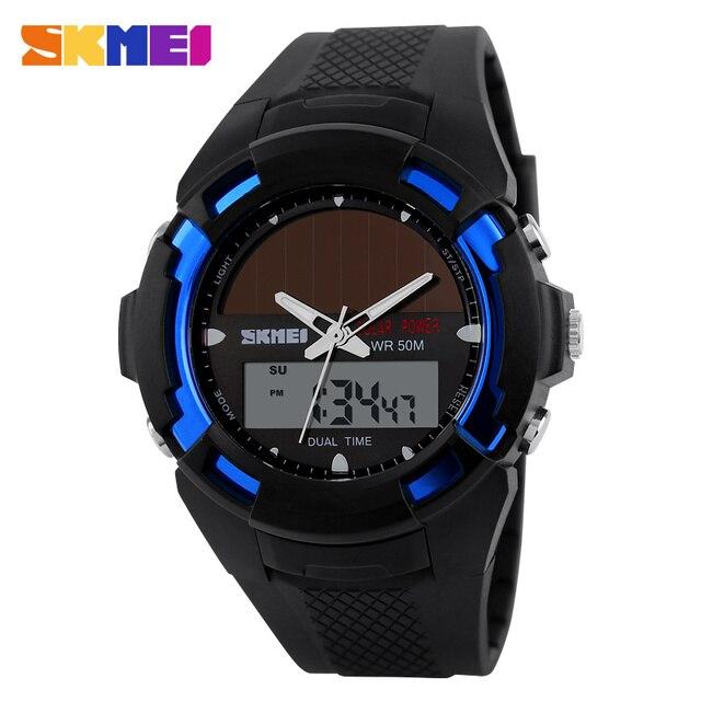 SKMEI 1056 Солнечный свет Моды для Мужчин Автоматические Часы водонепроницаемые часы высочайшее качество мужские знаменитые часы армия роскошные наручные часы военные