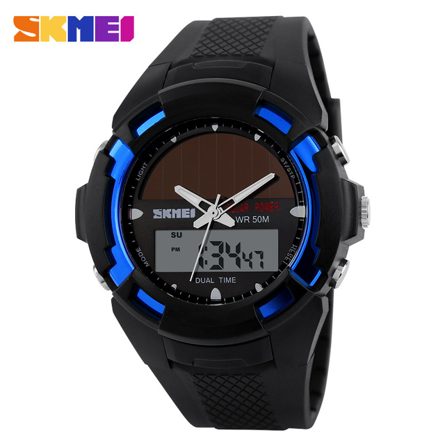 SKMEI 1056 Solar led Men Fashion Watch Automatic waterproof watch top quality mens famous clock army luxury wristwatch military