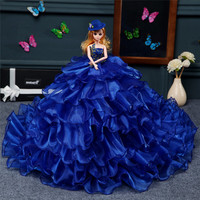 New Fashion Barbie Bridal Blue Dresses Trousers Decoration Doll Children Creative Doll Gifts Toys