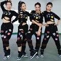 Женщины футболки мода 2016 костюмы для выступлений вырез с длинными рукавами хип-хоп т sirt широкий свободного покроя брюки ds для женщин