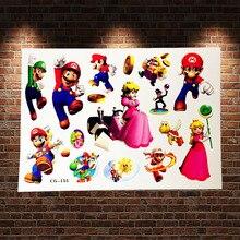 3D Joyful Game Nintendo Super Mario Tattoo Stickers ACG-155 Kids Waterproof Flash Tattoo Bros Yoshi Paste Fake Cartoon Tatoo