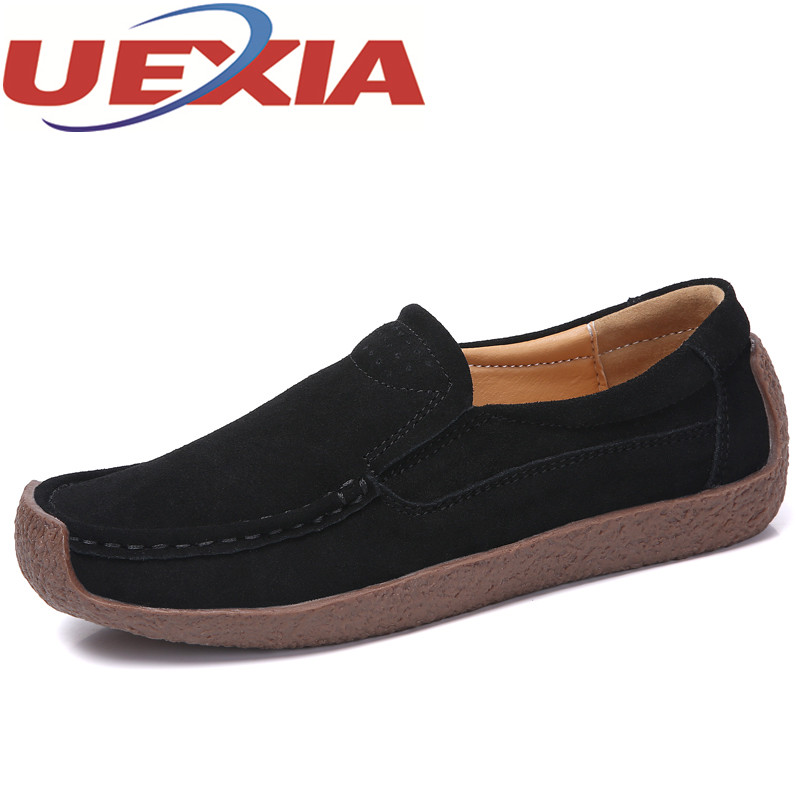 32c37a149fa Size 42 Women Suede Leather Flat Shoes Fashion Soft Bottom Slip On ...