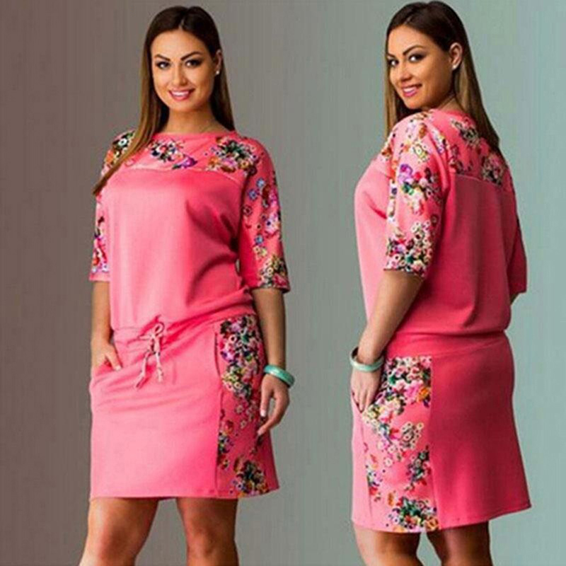 6XL Large Size New Summer Dress Women Vestidos Plus Size Casual Straight Floral Print Dress Big Size Ladies Party Dresses(China)