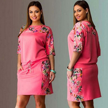 6XL Large Size New Summer Dress Women Vestidos Plus Size Casual Straight Floral