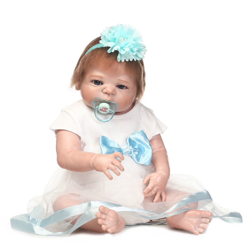 Handmade new Promotion full vinyl silicone doll reborn babydoll with soft touch for children Birthday gift new fashion design reborn toddler doll rooted hair soft silicone vinyl real gentle touch 28inches fashion gift for birthday