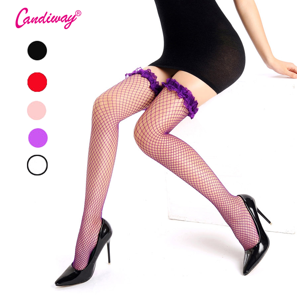 Hold-Ups Lace Tops Fever Fashion Sexy Women Fishnet High Knee Tights Stockings Pantyhose Ladies Mesh Silk Underwear Costumes