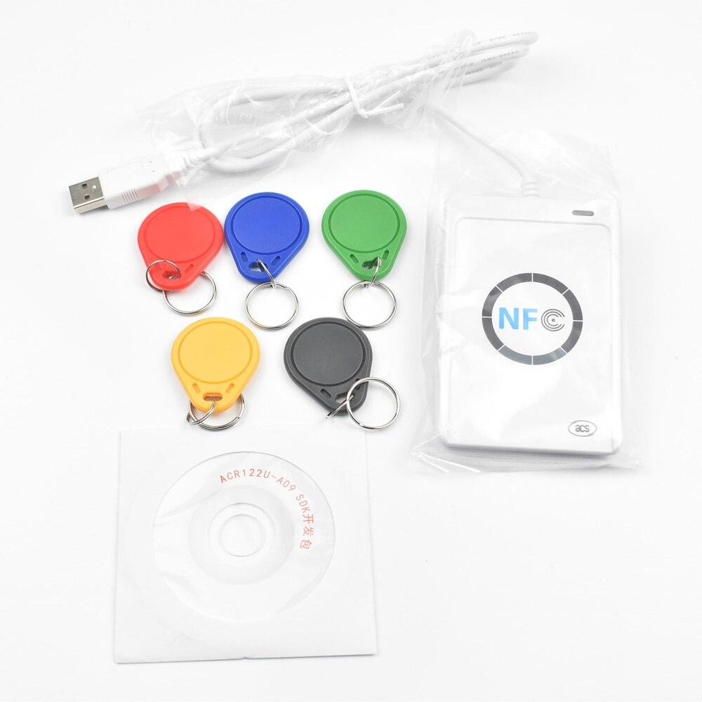 Professionnel USB ACR122U NFC RFID Lecteur de Carte Écrivain Pour tous les 4 types de NFC (ISO/IEC18092) Tags + 5 pcs UID clés Réinscriptibles + 1 SDK CD