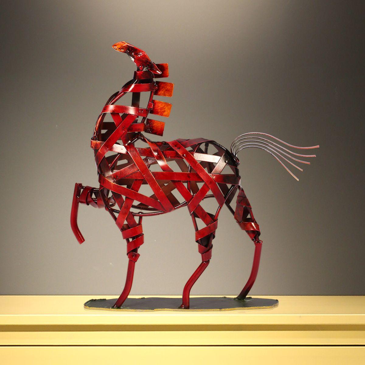 100% Wahr Tooarts Metall Geflochtene Pferd Kunstwerk Skulptur Eisen Weben Pferd Einrichtungs Artikel Handwerk Vintage Ornament Dekor Verpackung Der Nominierten Marke