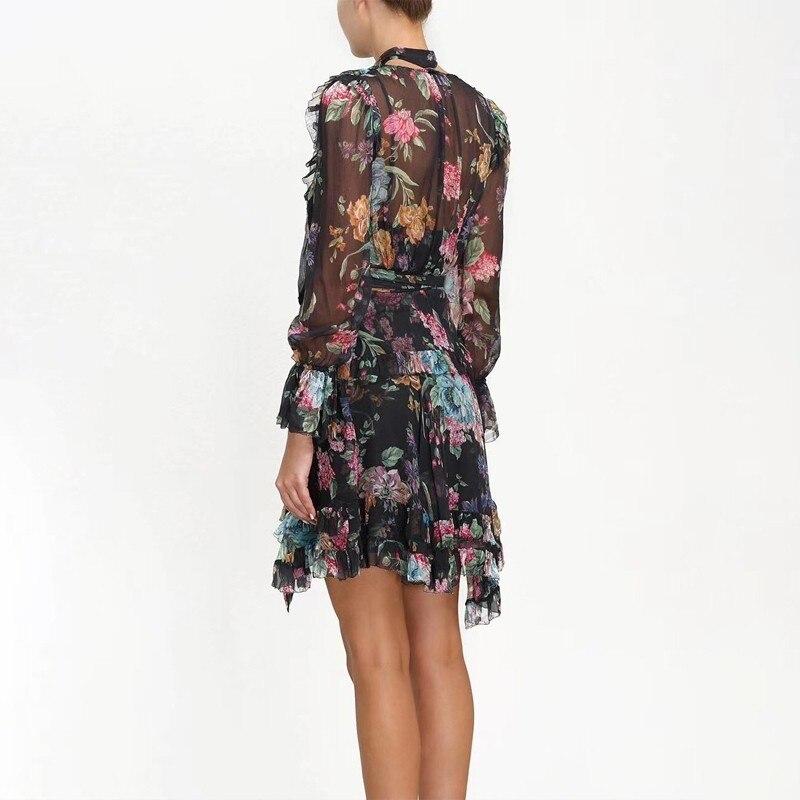 TWOTWINSTYLE w stylu Vintage drukuj Mini sukienka dla kobiet V Neck Flare rękawem wysoka talia Ruffles bandaż sukienki kobiet 2019 lato w Suknie od Odzież damska na  Grupa 3