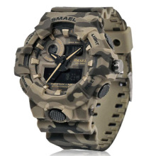 New Camouflage Military Watch SMAEL Men Sports LED Quartz Clock Sport Wristwatch 8001 Mens Army Waterproof