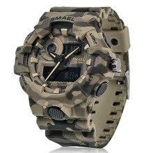Новые камуфляжные военные часы SMAEL часы Для мужчин спортивные часы светодио дный кварцевые часы Для мужчин наручные Спорт 8001 Для мужчин s армии часы водонепроницаемый мужские водонепроницаемые часы