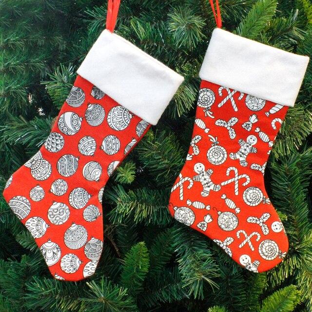 printed christmas stocking socks santa claus candy gift bag christmas tree decoration gift bag pendant christmas - Christmas Tree Bags
