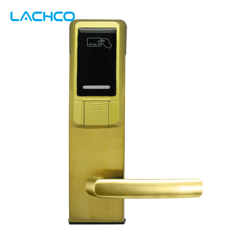 LACHCO Electronic Card Lock Smart Digital Door Lock For Home Hotel Office Room Latch with Deadbolt Free-Style Handle L16040MG lachco card hotel lock digital smart electronic rfid card for office apartment hotel room home latch with deadbolt l16058bs
