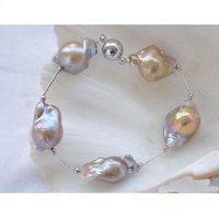 Luck Pearl Jewellery,Stretch 8inches 16mm Lavender Baroque Keshi Reborn Pearls Gild 5Star Bracelet,White Magnet Clasp