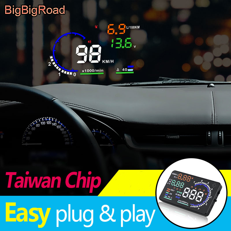 BigBigRoad Car HUD OBD2 Computer Windscreen font b Projector b font Head Up Display For Peugeot