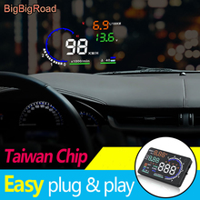 BigBigRoad Car HUD OBD2 Computer Windscreen Projector Head Up Display For Peugeot Expert  Eurovans RCZ 406 407 2D coupe 4D Sedan