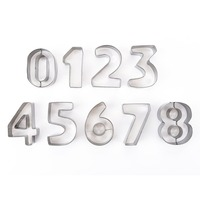 9pcs Stainless Steel Large Size Digital Number Module Cookie Biscuits Chocolate Candy Molds Dessert Handmade Cake
