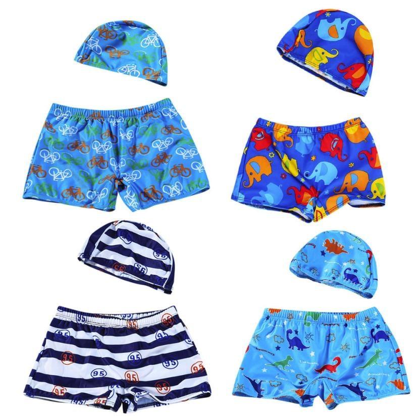 7c9914adde Swimsuit Girl 2018 2Pcs Kids Baby Boys Stretch Beach Swimsuit Swimwear  Trunks Shorts+Hat Set