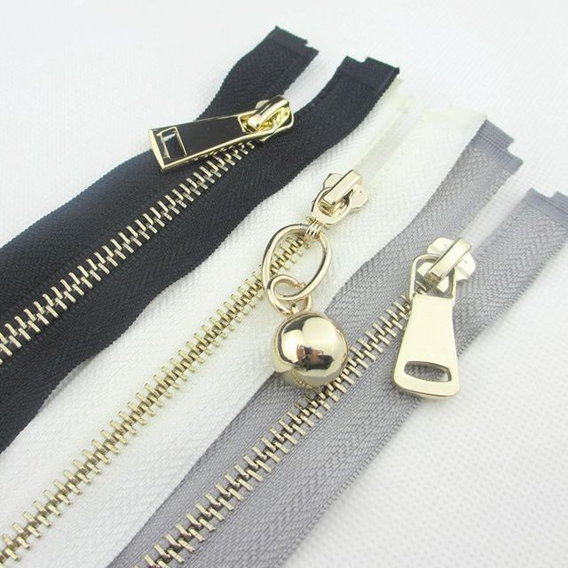 6pieces Fashion Mix Color Open End Metal Zipper With Gold Slider Fit For Bags