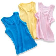 2 piezas ropa para niños chalecos ropa interior niños camisolas camisetas  sin mangas verano sólido algodón suave tanques para ni. e3fcdd71985f