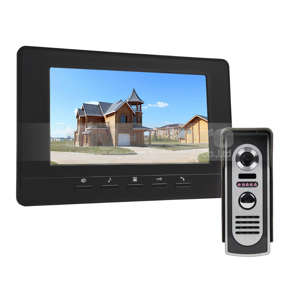 DIYKIT 600TV Line 7inch Video Intercom Video Door Phone IR Night Vision Outdoor Camera Black 1v1