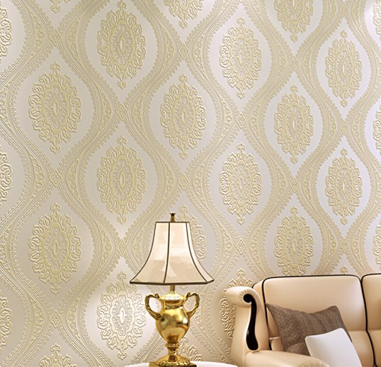 ФОТО Elegant Beige Damask Wallpaper for Living room