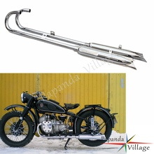 Motorbike Chrome Retro 750cc Fishtail 32HP Front & Rear Exhaust Muffler Silencer for BMW Ural K750 M1 M72 R71 R12 Dnepr MT12 zs motos head motor ural original suit 2pcs pure cj k750 copper parts gaskets bavarian cylinder m1 m72 r71 motorcycle cj k750