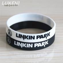LUKENI Hot Sale LINKIN PARK Band Silicone Wristband Black White Color Rock Music Band Silicone Bracelets & Bangles Gift SH072