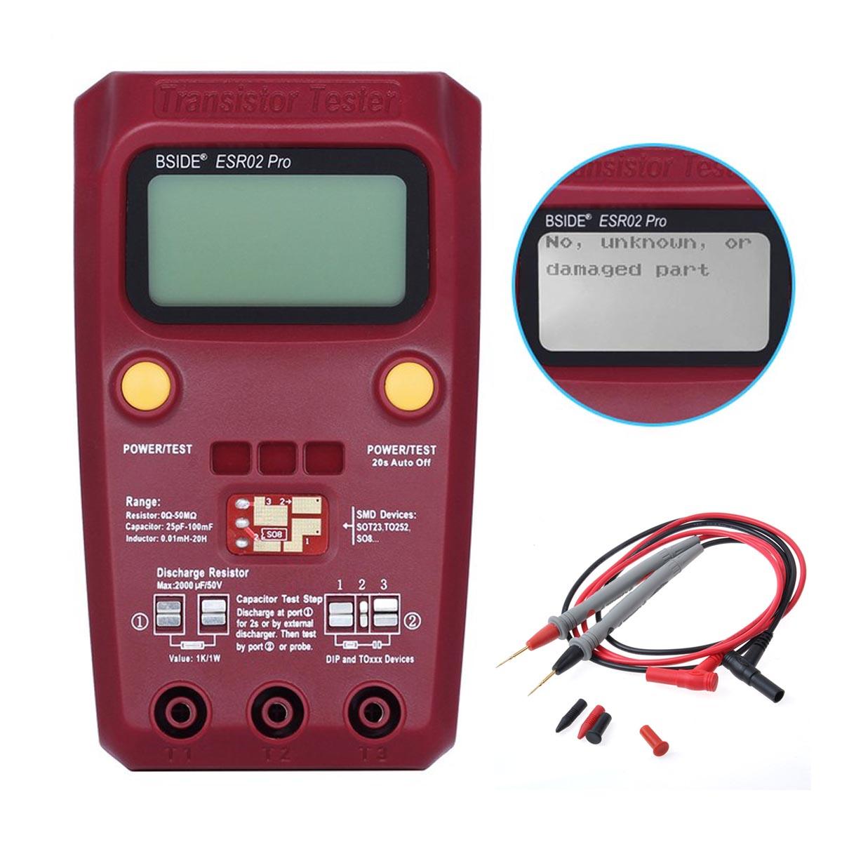 M121 BSIDE ESR02 PRO Digital Transistor SMD components Testers Diode Triode Capacitance inductance multimeter ESR meter