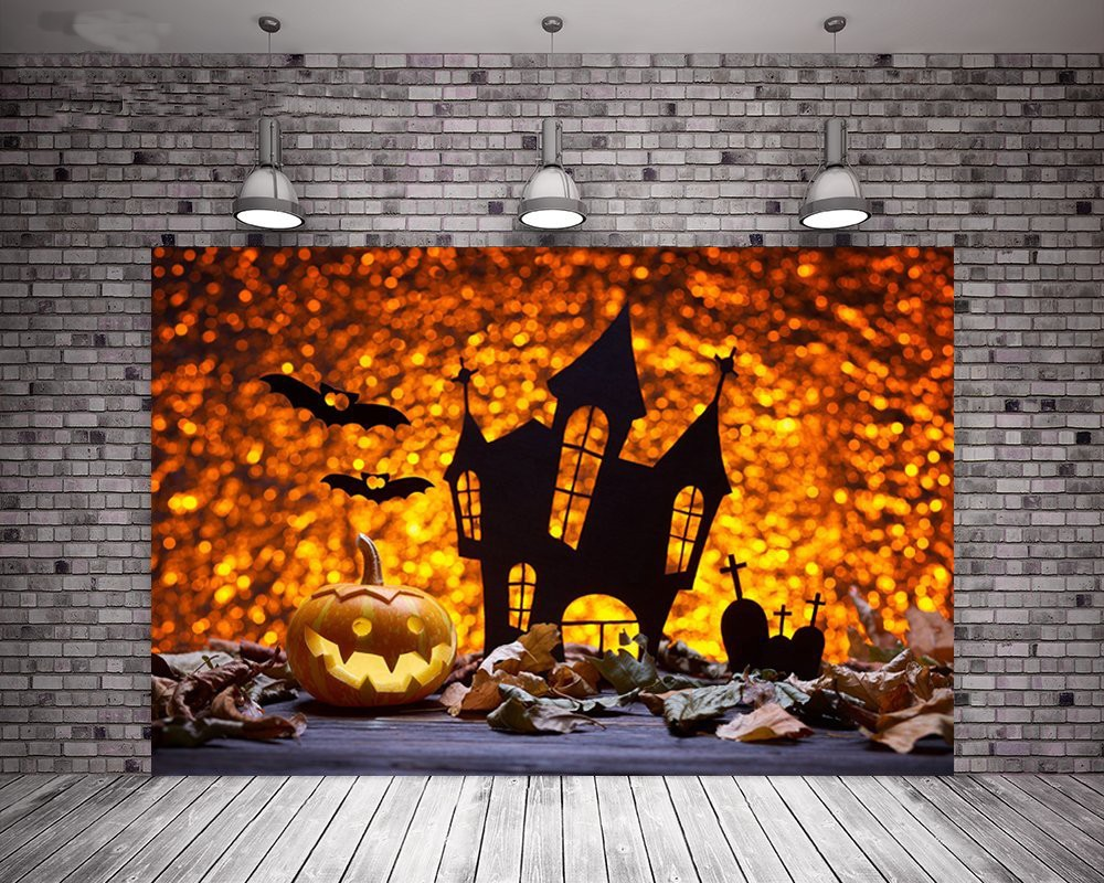 Us 14 83 5 Off Pumpkin Lamp Antique Wood Bat Silhouette Cemetery Castle Autumn Leaf Background Vinyl Cloth Computer Printed Halloween Backdrop In