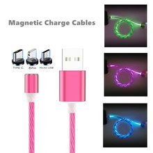 LED Follow Light USB Magnetic Charger Cable For iPhone X Xs Huawei P30 Lite P20 Pro Xiaomi Redmi Note 7 Samsung Cell Phone Cord(China)