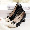 Женщины лакированной кожи насосы контракт цвета бантом горный хрусталь коренастый каблуки дамы платье обувь удобные Плюс Размер: 34-43