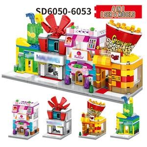Image 4 - 4 في 1 شارع صغير اللبنات مدينة متجر العمارة الصينية نموذج سلسلة أطفال الإبداع اللعب متوافق معظم العلامات التجارية كتلة