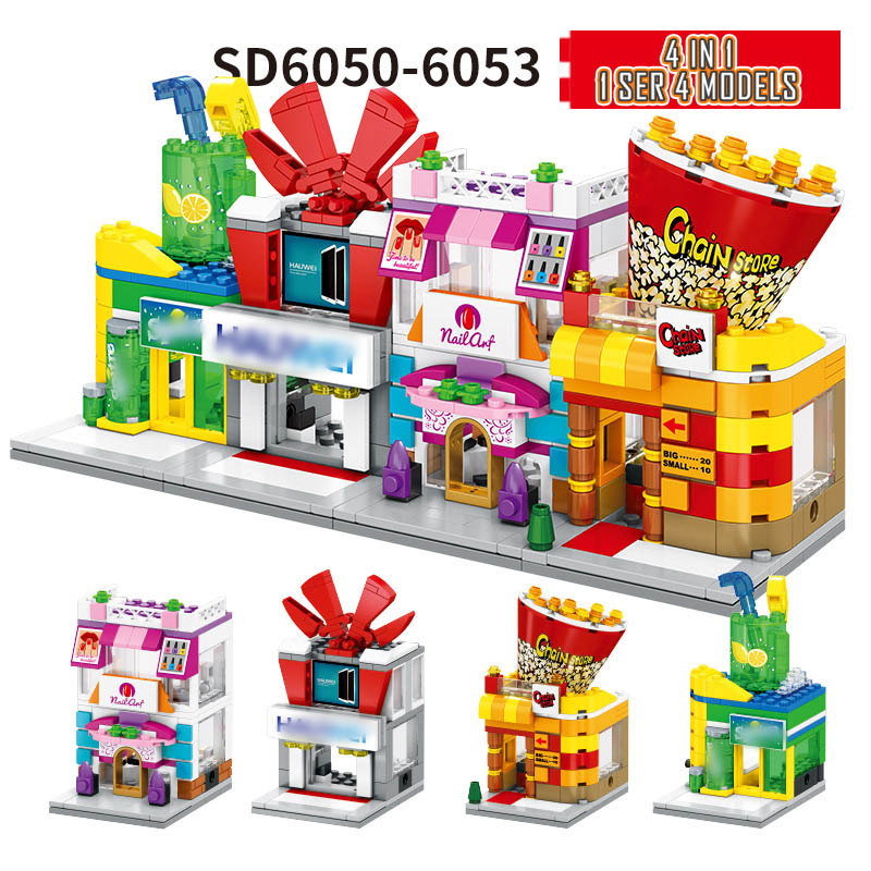 Image 4 - 4 In 1 Mini Street Building Blocks City Shop Chinese Architecture Model Series Kids Creativity Toys Compatible Most Brands Block-in Blocks from Toys & Hobbies