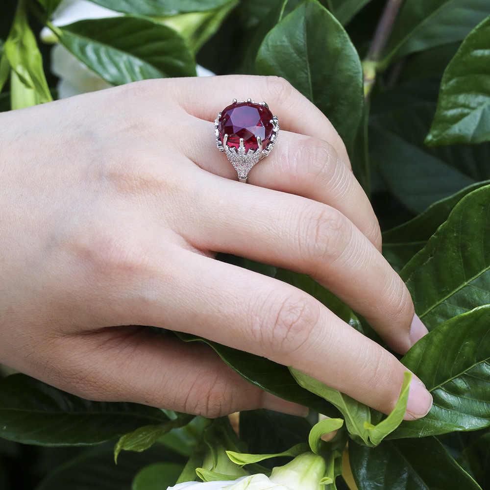 Charm ผู้หญิงคริสตัลสีแดง Zircon แหวนแฟชั่น 925 เงินแหวน Vintage งานแต่งงานวงแหวนเครื่องประดับ