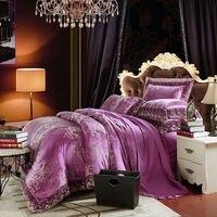 European Style Leaves Purple Silk Cotton Jacquard Linens 4 6pcs Queen King Size Duvet Cover Sets