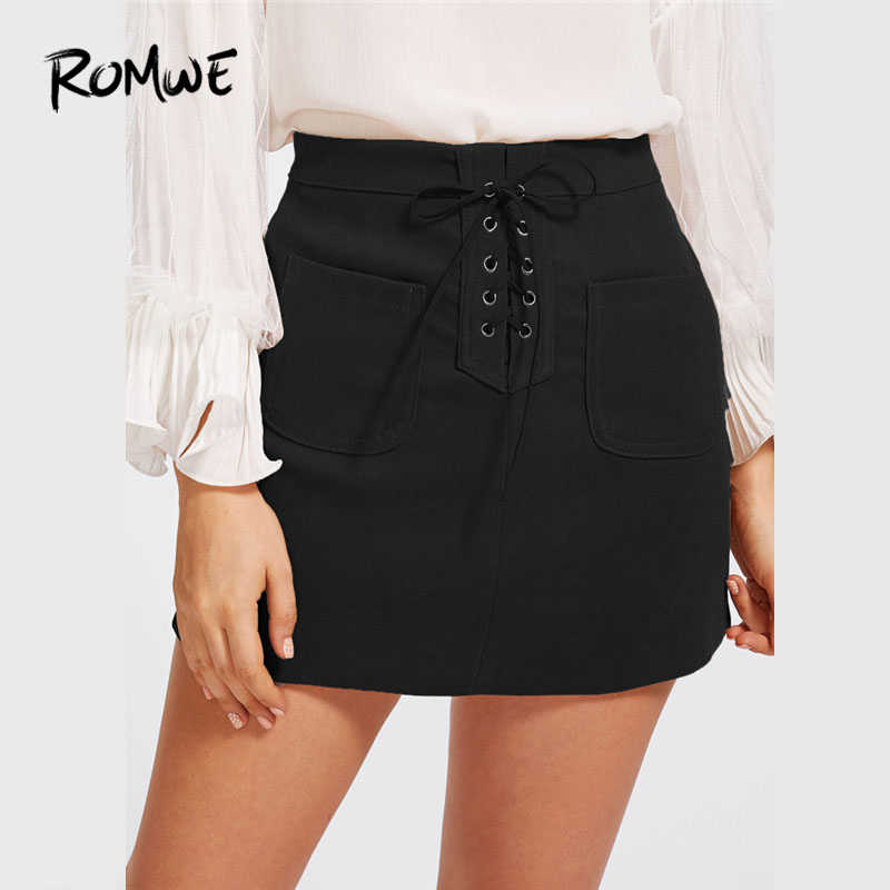 7cc35569f7913 Detail Feedback Questions about ROMWE Black Grommet Lace Up Dual ...