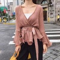 Women Spring Autumn v neck Tunic Chiffon Blouse Shirt for Women Long Flared Sleeve Blouses Tops Fashion Peplum Shirts